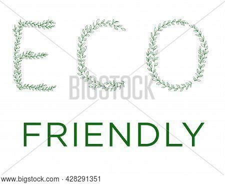 Eco Friendly Lettering. Green Tree Branch Letters. Alphabet Abc Font Capital Letters For Logo Design
