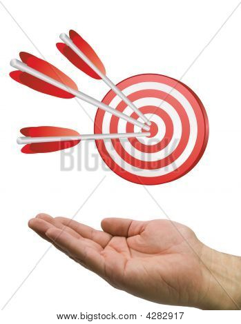 Hand And Arrow Target White
