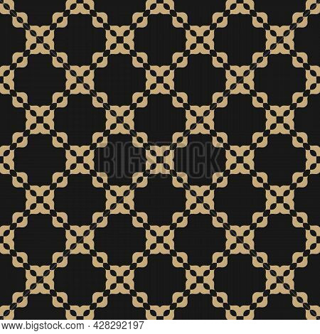 Golden Abstract Geometric Grid Seamless Pattern. Elegant Vector Background In Black And Gold Color.