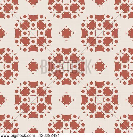 Vector Geometric Floral Ornament. Elegant Ornamental Seamless Pattern With Flower Silhouettes, Grid,