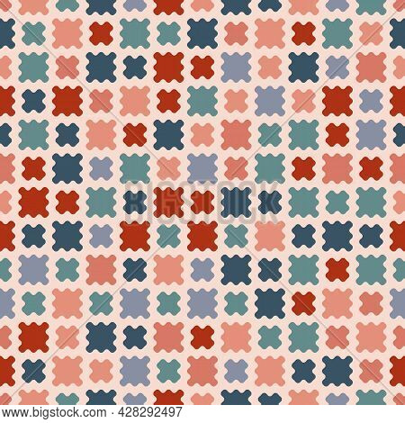 Vector Abstract Geometric Seamless Pattern. Stylish Texture With Simple Colorful Organic Shapes, Cur