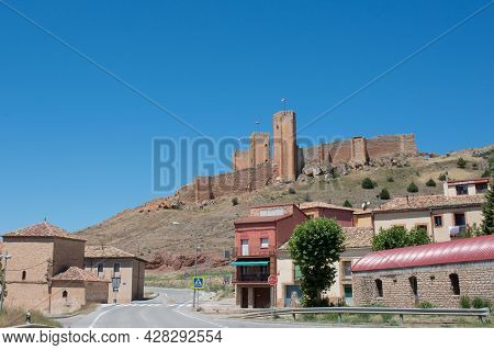 View Of Molina De Aragon With Its Castle And Fortress, From The Road. Spain, Europe