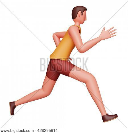 3D Render Of Young Athlete Man Running On White Background.