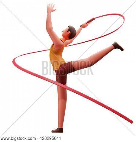 3D Illustration Of Male Athletic Performing Rhythmic Gymnastics On White Background.