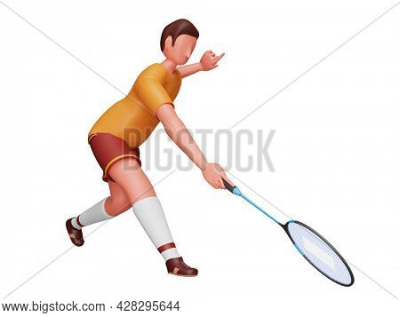 3D Illustration Of Male Badminton Player Holding Racket On White Background.