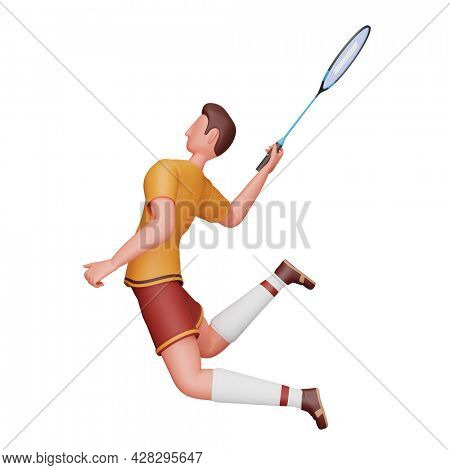 3D Illustration Of Male Badminton Player In Playing Pose.