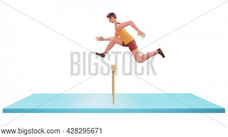 Side View Of 3D Athlete Man Jumping Over Hurdles On Blue And White Background.
