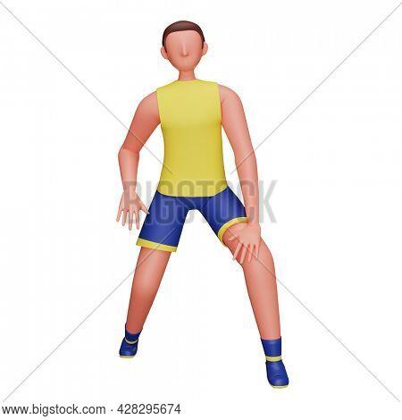 3D Sportsman Doing Leg Stretch Exercise On White Background.