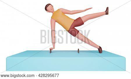 3D Rendering Of Male Gymnast Performing On Pommel Horse.