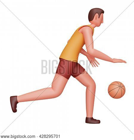 3D Illustration Of Young Athlete Man Playing Basketball Over White Background.