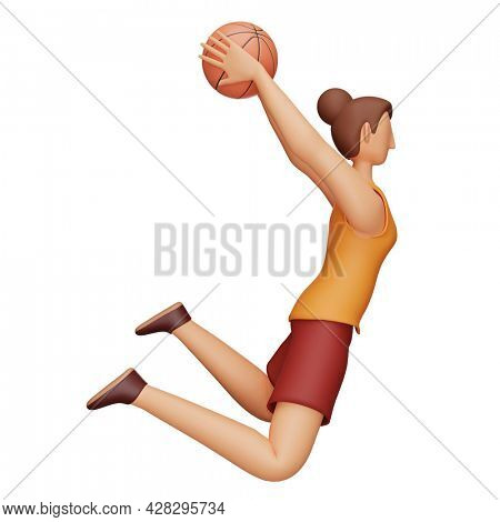 3D Character Of Female Basketball Player In Throwing Pose Over White Background.