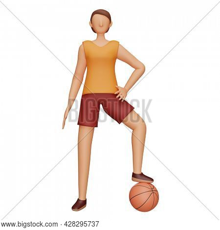 3D Character Of Female Basketball Athlete In Playing Pose.