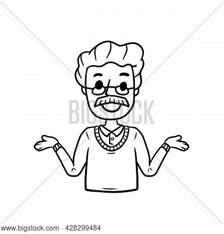 Man With Spread Hands. Smiling Young Man In Shirt. Doubt And Timidity. Hand Drawn Sketch Cartoon. Un