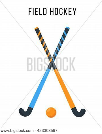 Field Hockey Equipment. Sport Ball And Two Sticks For Playing Field Hockey Game. Elements And Access