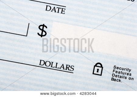 Close Up Of A Blank Check