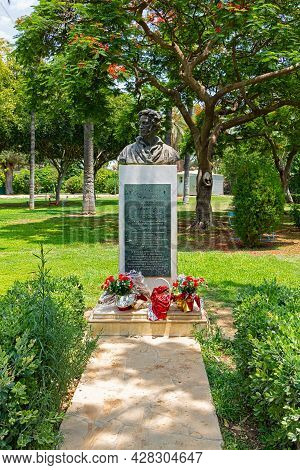 Cyprus, Limassol - 29 June 2021. Monument To The Great Russian Poet Alexander Pushkin In The Municip