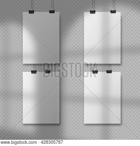Abstract Poster Design With Hanging Papers. Hanging A4 Paper Poster Mockup