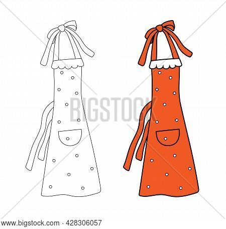 Cute Women's Apron With Polka Dots In A Simple Flat Graphic Outline Style. Isolated Vector Pinafore
