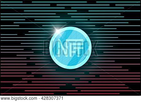 Nft Non Fungible Light Blue Token On Abstract Linear Background. Online Money For Buy Exclusive Art