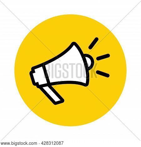 Megaphone Icon Inside A Yellow Circle. Announcement Icon Horn Icon. Loudspeaker Icon Vector Illustra