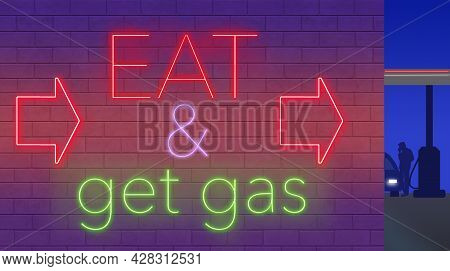 A Neon Sign On The Wall Of A Gasoline Station Displays The Words