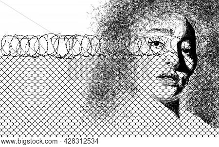 Here Is A 3-d Illustration About Women In Prison.