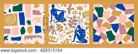 Matisse Inspired Abstract Art Seamless Pattern Set With Female Figure And Organic Shapes In Minimal