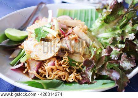 Noodles Or Noodles Without Soup, Spicy Noodles Or Spicy Pasta And Sausage