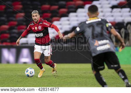 Rio, Brazil - July 29, 2021: De Arrascaeta Player In Match Between Flamengo 6 Vs 0 Abc By Brazilian