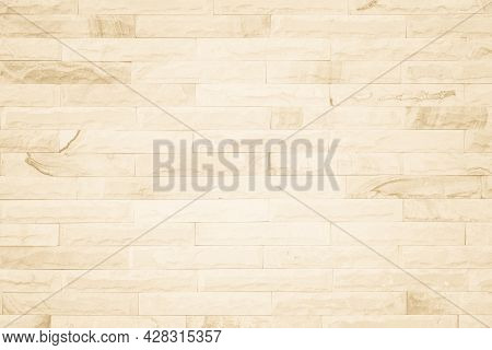 White Sepia Tan Brown Rock Stone Brick Tile Wall Aged Texture Pattern Background. Old Brick Wall Tex