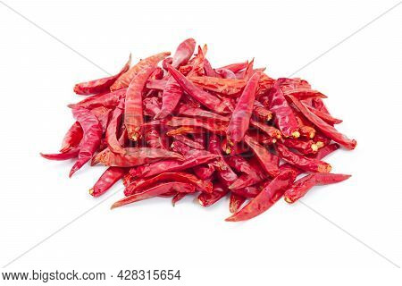 Dried Pepper Chillies On White Background. Dried Pepper Chillies.