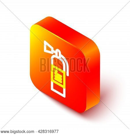 Isometric Line Fire Extinguisher Icon Isolated On White Background. Orange Square Button. Vector