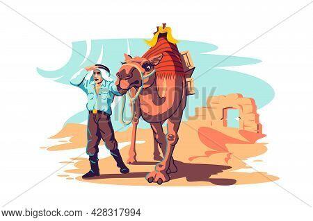 Man With Camel Explore Desert Vector Illustration. Archaeological Site, Tired Man On Desert Road Fla