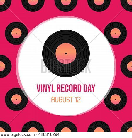 National Vinyl Record Day Vector Cartoon Greeting Card, Illustration With Vinyl Record And Pink Seam