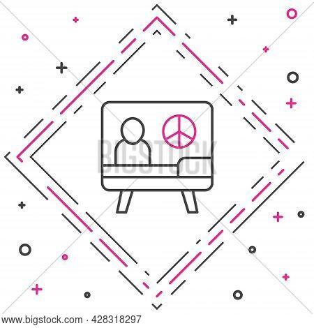 Line Peace Icon Isolated On White Background. Hippie Symbol Of Peace. Colorful Outline Concept. Vect