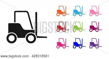 Black Forklift Truck Icon Isolated On White Background. Fork Loader And Cardboard Box. Cargo Deliver
