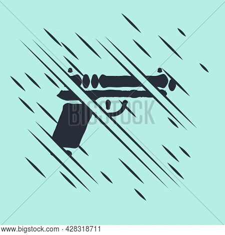 Black Pistol Or Gun Icon Isolated On Green Background. Police Or Military Handgun. Small Firearm. Gl
