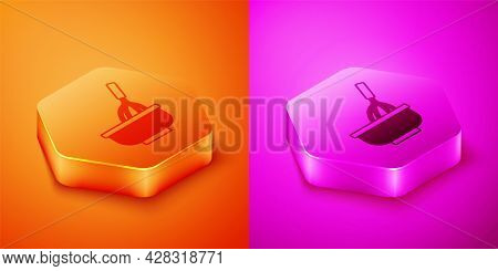 Isometric Kitchen Whisk With Bowl Icon Isolated On Orange And Pink Background. Cooking Utensil, Egg