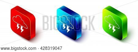 Isometric Storm Icon Isolated On White Background. Cloud And Lightning Sign. Weather Icon Of Storm.