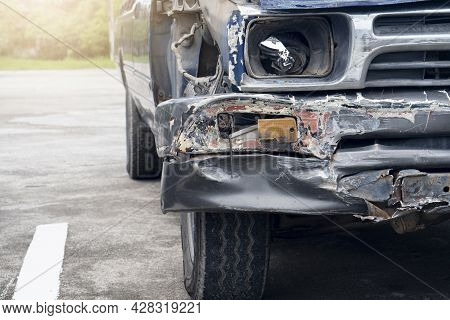 Front Car Damage From Road Accidents. Front And Side Injection Parts Were Broken. The Headlight Was