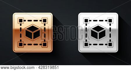 Gold And Silver Geometric Figure Cube Icon Isolated On Black Background. Abstract Shape. Geometric O