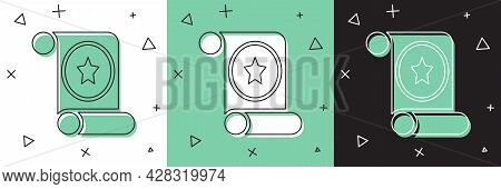 Set Magic Scroll Icon Isolated On White And Green, Black Background. Decree, Paper, Parchment, Scrol