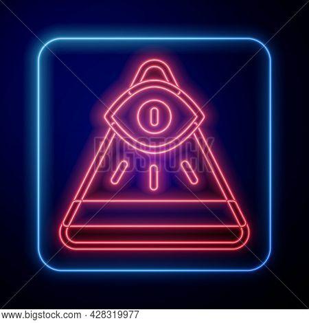 Glowing Neon Masons Symbol All-seeing Eye Of God Icon Isolated On Black Background. The Eye Of Provi