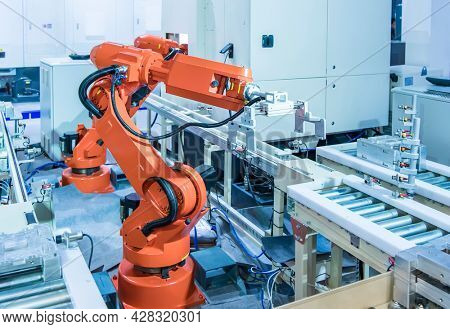 robotic arm machine tool in industrial manufacture factory,Smart factory industry 4.0 concept.