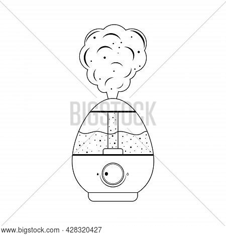 Humidifier, Black Contour Isolated Illustration On A White Background.