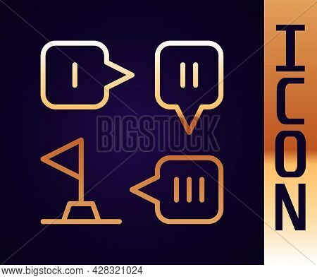 Gold Line Planning Strategy Concept Icon Isolated On Black Background. Formation And Tactic. Vector
