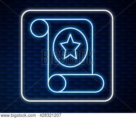 Glowing Neon Line Magic Scroll Icon Isolated On Brick Wall Background. Decree, Paper, Parchment, Scr