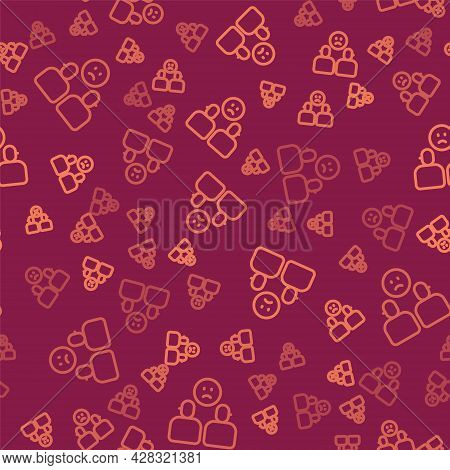 Brown Line Complicated Relationship Icon Isolated Seamless Pattern On Red Background. Bad Communicat