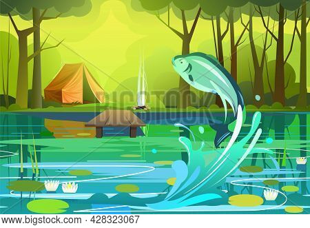 Forest. Green Summer Landscape. Bank Of River Or Lake. Fishing Pier. Fish Jumped Out With Spray. Wav