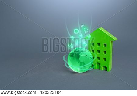 Green Multi-storey Residential Building And Globe With Environmental Symbols. High Demands, Standard